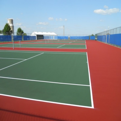 Red and Green large Set of Tennis Courts with Windscreen
