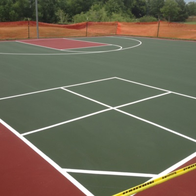 Red and Green Basketball Court with four square