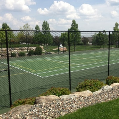 Private green tennis court with Pickleball lines