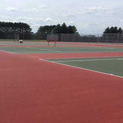 Set of eight red and green tennis courts