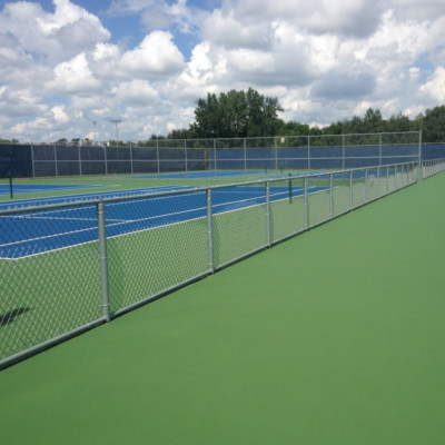 Set of eight blue and green tennis courts left side