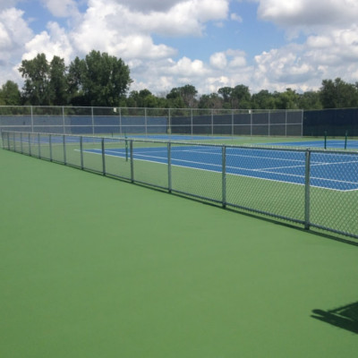 Set of eight blue and green tennis courts right side