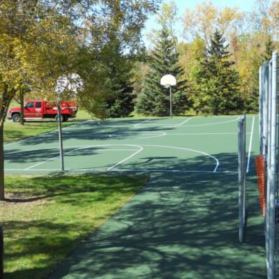 Green basketball court local park