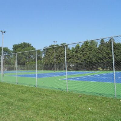 Set of blue and green tennis courts