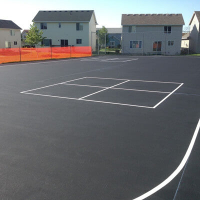 Four square lines on blacktop