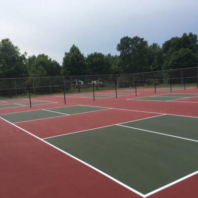 Set of six pickleball courts