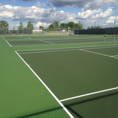 Large set of tennis court and windscreens